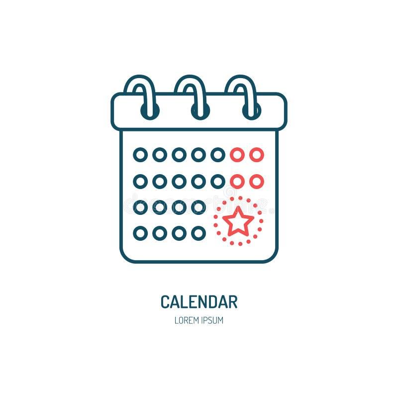 Linha ícone do calendário Logotipo do vetor para a agência da organização do evento Ilustração linear do lembrete da data ilustração royalty free