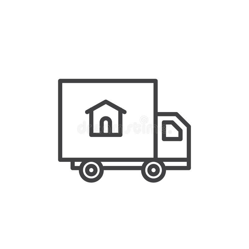 Linha ícone do caminhão da entrega a domicílio ilustração royalty free