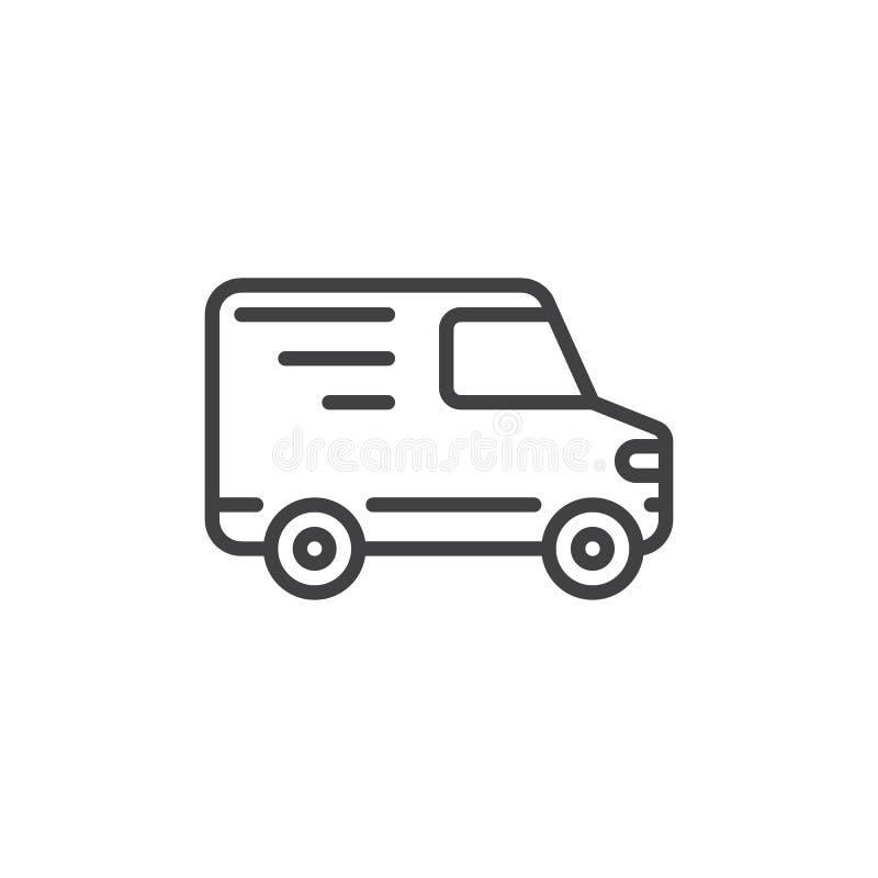 Linha ícone do caminhão de entrega, sinal do vetor do esboço ilustração royalty free