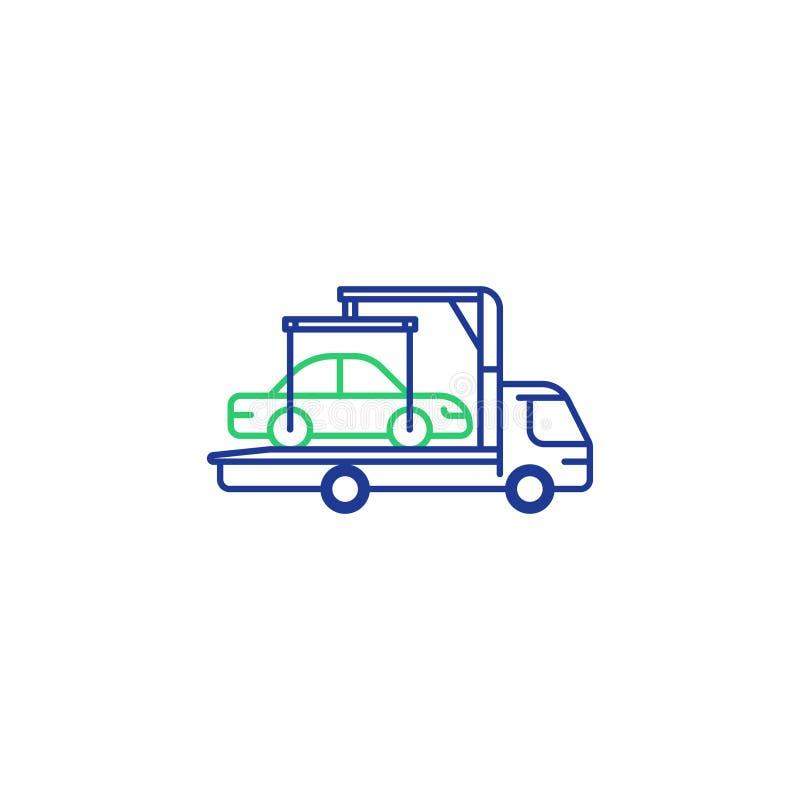 Linha ícone do caminhão de reboque, internamento do veículo, divisão do carro ilustração royalty free