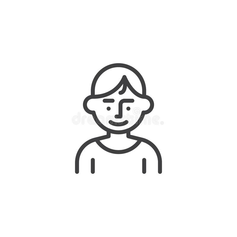 Linha ícone do caráter do avatar do homem novo ilustração do vetor