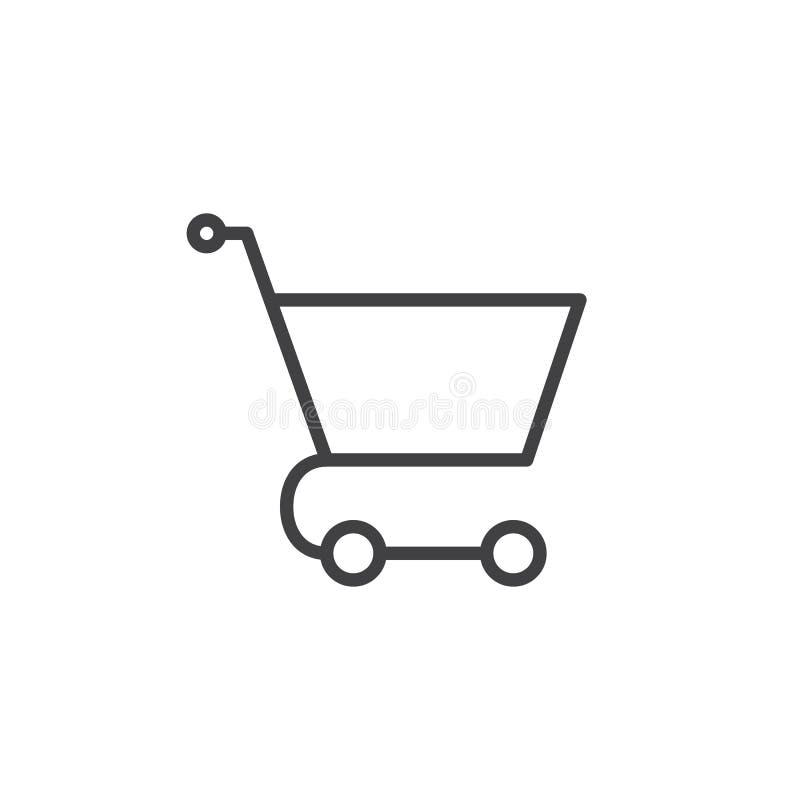 Linha ícone do carrinho de compras ilustração do vetor