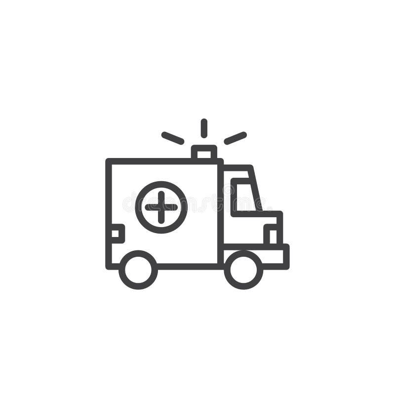 Linha ícone do carro da ambulância ilustração royalty free