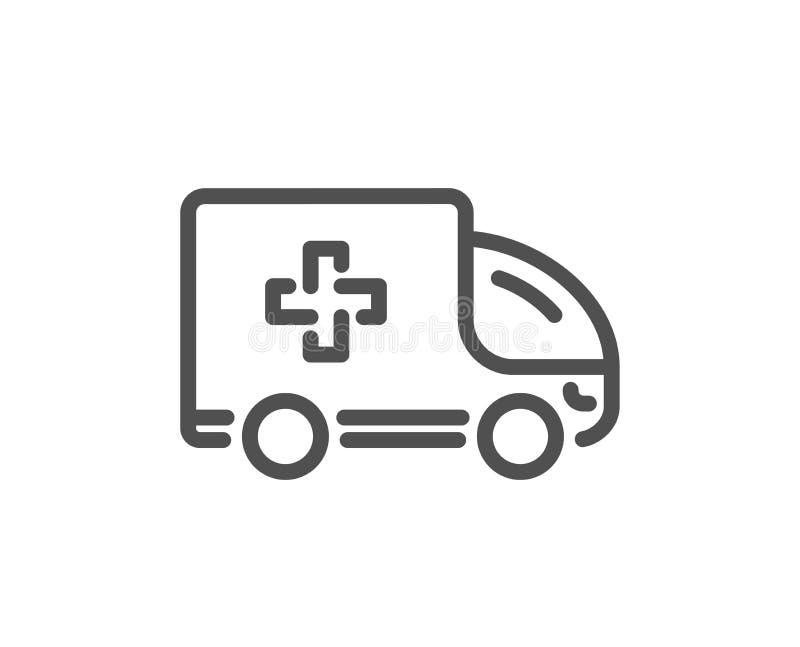 Linha ícone do carro da emergência da ambulância Sinal do veículo do transporte do hospital Vetor ilustração stock