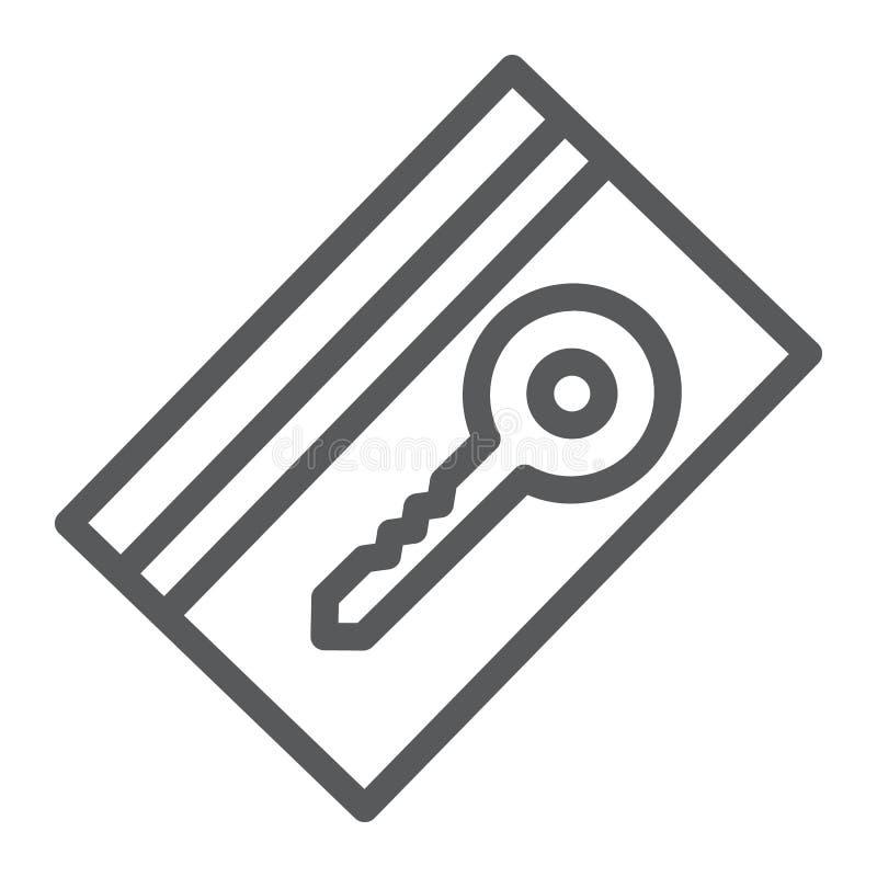 Linha ícone do cartão chave, hotel e acesso, sinal eletrônico da passagem, gráficos de vetor, um teste padrão linear em um fundo  ilustração do vetor