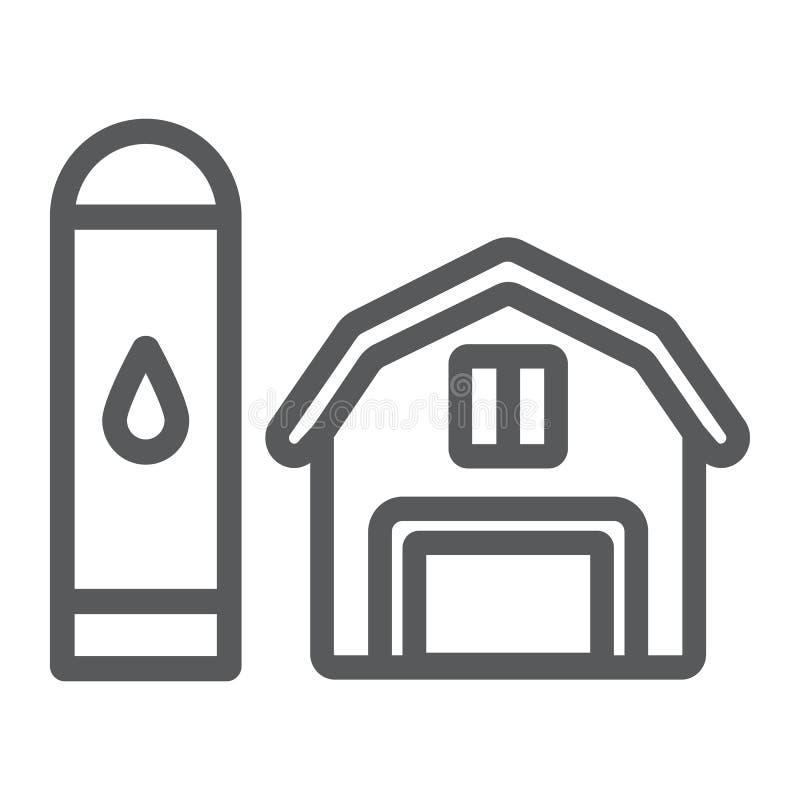 Linha ícone do celeiro, agricultura e exploração agrícola, sinal do hangar, gráficos de vetor, um teste padrão linear em um fundo ilustração stock