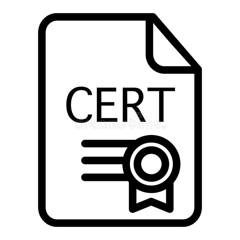Linha ícone do certificado Ilustração do vetor da concessão isolada no branco Projeto do estilo do esboço do diploma, projetado p ilustração royalty free