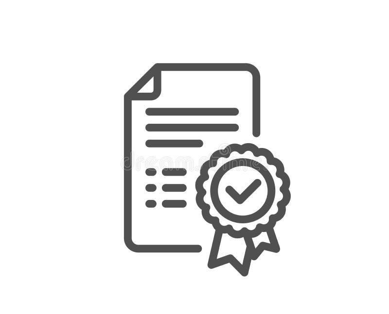 Linha ícone do certificado Sinal verificado do original ilustração royalty free