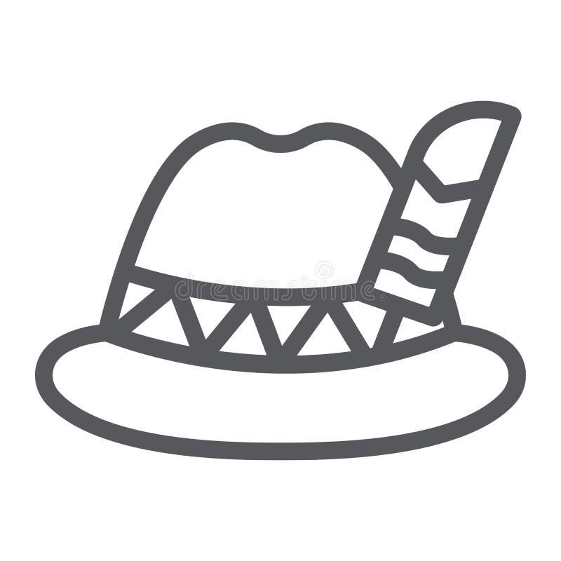 Linha ícone do chapéu de Oktoberfest, bávaro e tampão, sinal do chapéu do bavaria, gráficos de vetor, um teste padrão linear em u ilustração stock