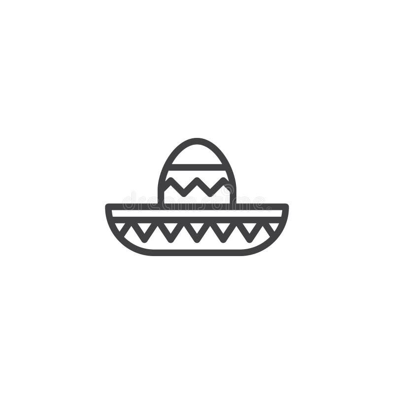 Linha ícone do chapéu do Mariachi ilustração stock
