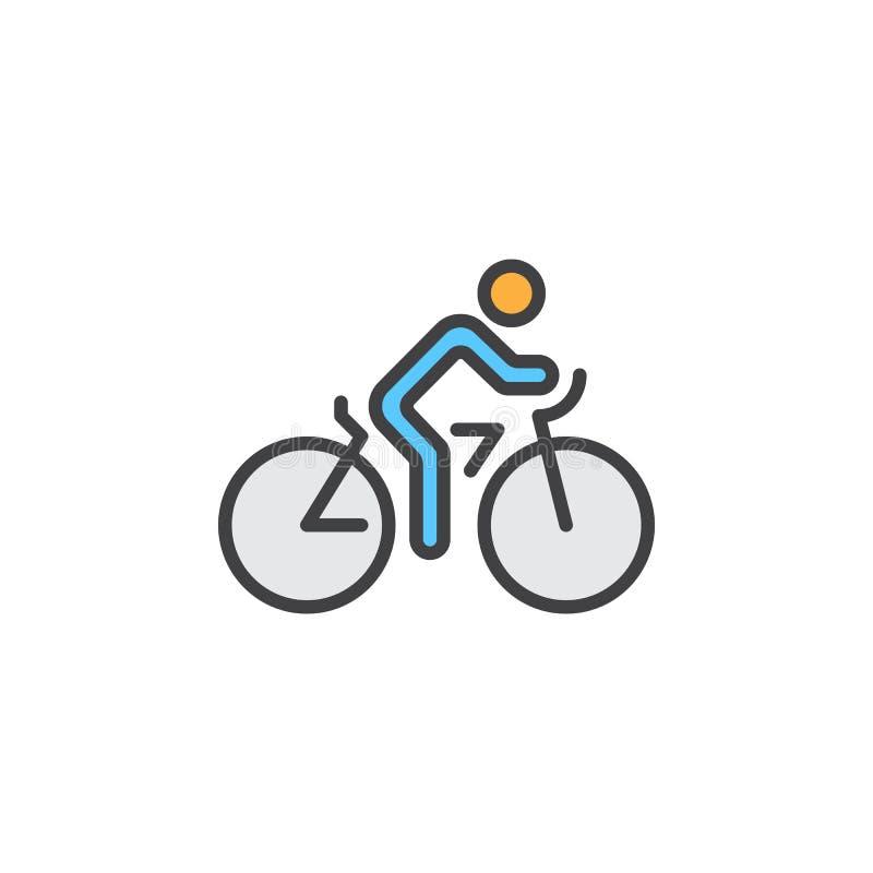 A linha ícone do ciclismo, bicicleta encheu o sinal do vetor do esboço, pictograma colorido linear isolado no branco ilustração royalty free