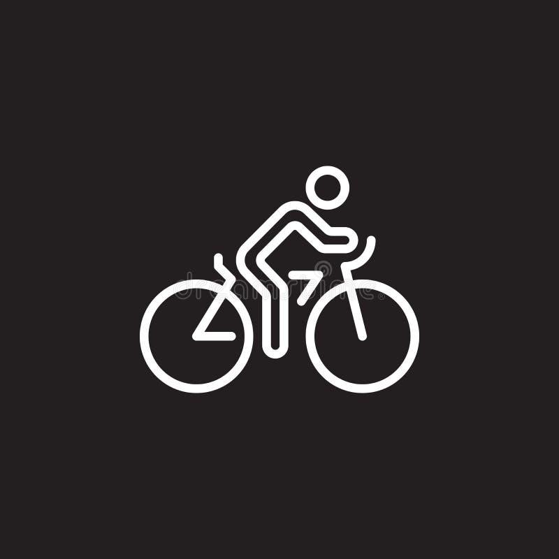 Linha ícone do ciclismo, sinal do vetor do esboço da bicicleta, pictograma linear isolado no preto ilustração stock