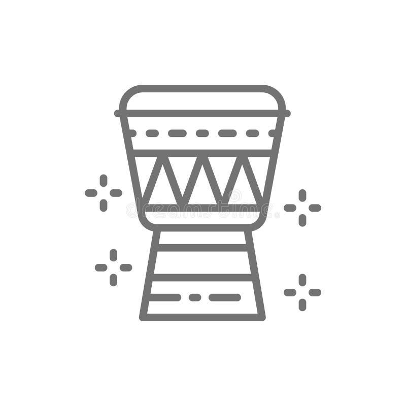 Linha ícone do cilindro de Djembe do africano ilustração royalty free