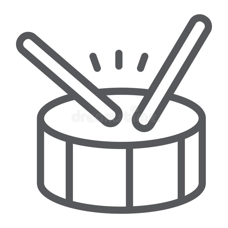 Linha ícone do cilindro, música e batida, sinal do instrumento de percussão, gráficos de vetor, um teste padrão linear em um fund ilustração royalty free