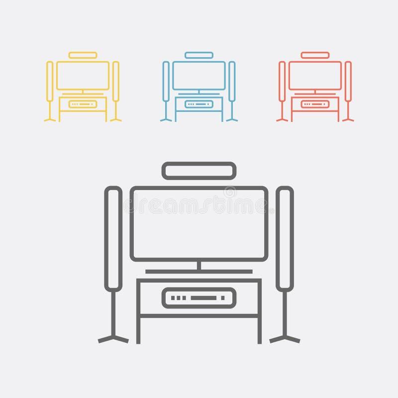 Linha ícone do cinema em casa ilustração stock