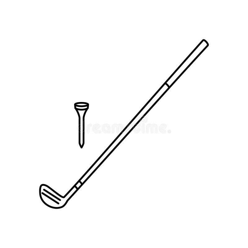 Linha ícone do clube de golfe ilustração royalty free