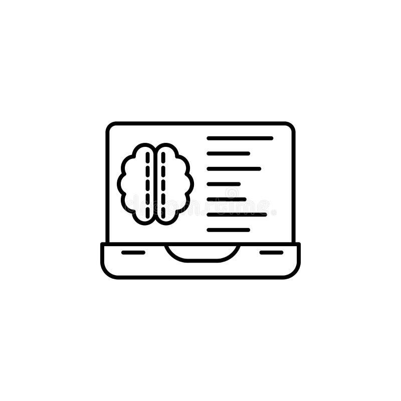 Linha ícone do conceito da estatística do analista do cérebro Ilustração simples do elemento Projeto do símbolo do esboço do conc ilustração do vetor