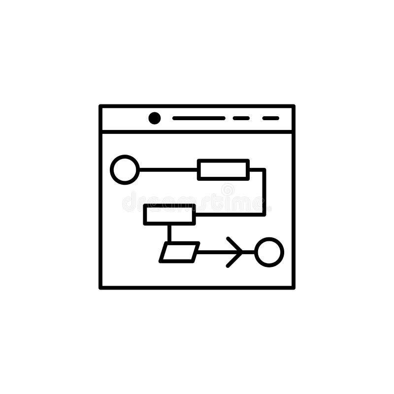 Linha ícone do conceito da inteligência artificial do algoritmo Ilustração simples do elemento Outlin do conceito da inteligência ilustração royalty free