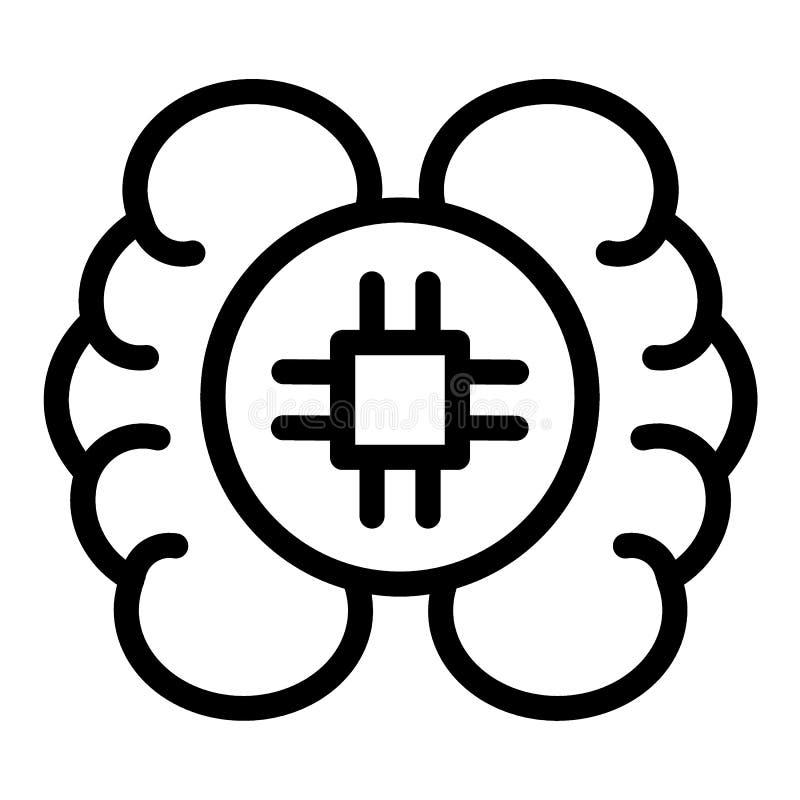 Linha ícone do conceito da inteligência artificial Cérebro com a ilustração do vetor da microplaqueta isolada no branco Esboço da ilustração royalty free