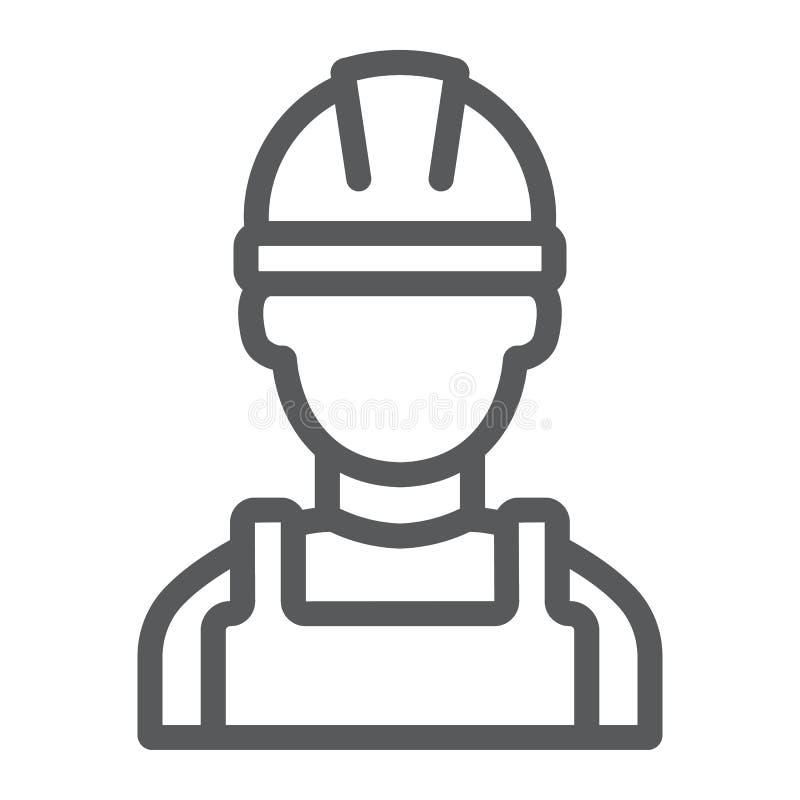 Linha ícone do construtor, coordenador e homem, sinal do trabalhador da construção, gráficos de vetor, um teste padrão linear em  ilustração royalty free