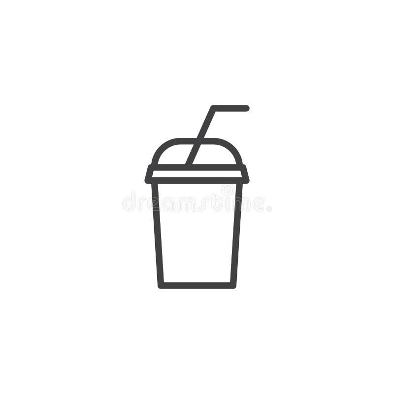 Linha ícone do copo da bebida do batido ilustração do vetor