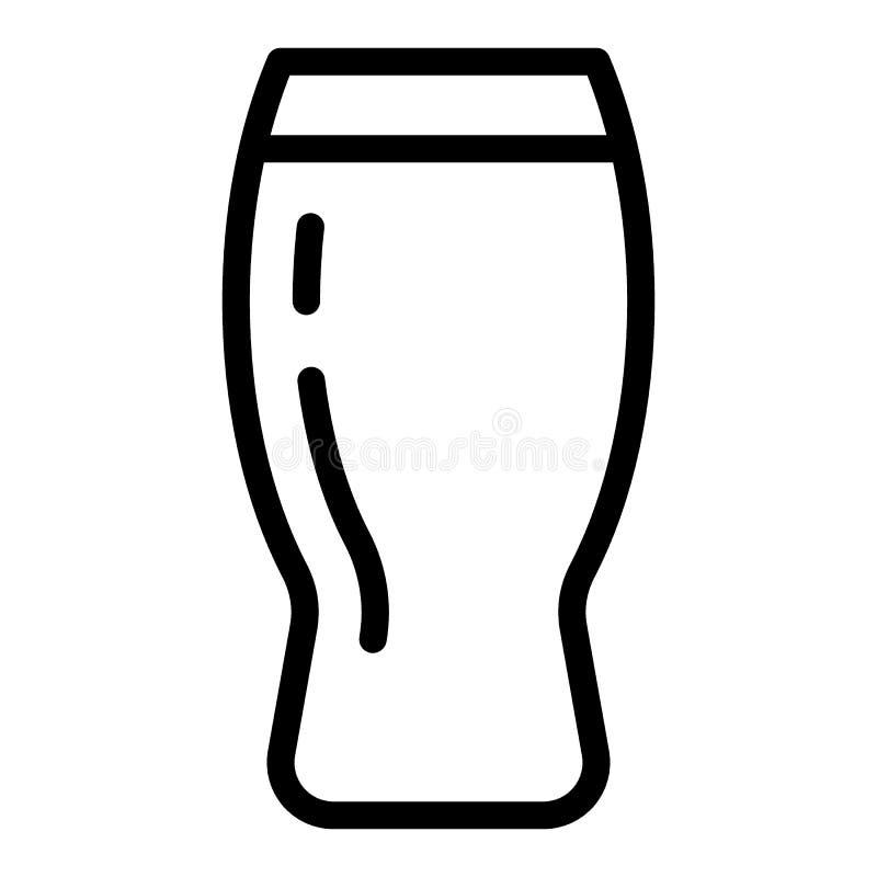 Linha ícone do copo da cerveja Ilustração de vidro do vetor da pinta da cerveja isolada no branco Projeto do estilo do esboço da  ilustração royalty free