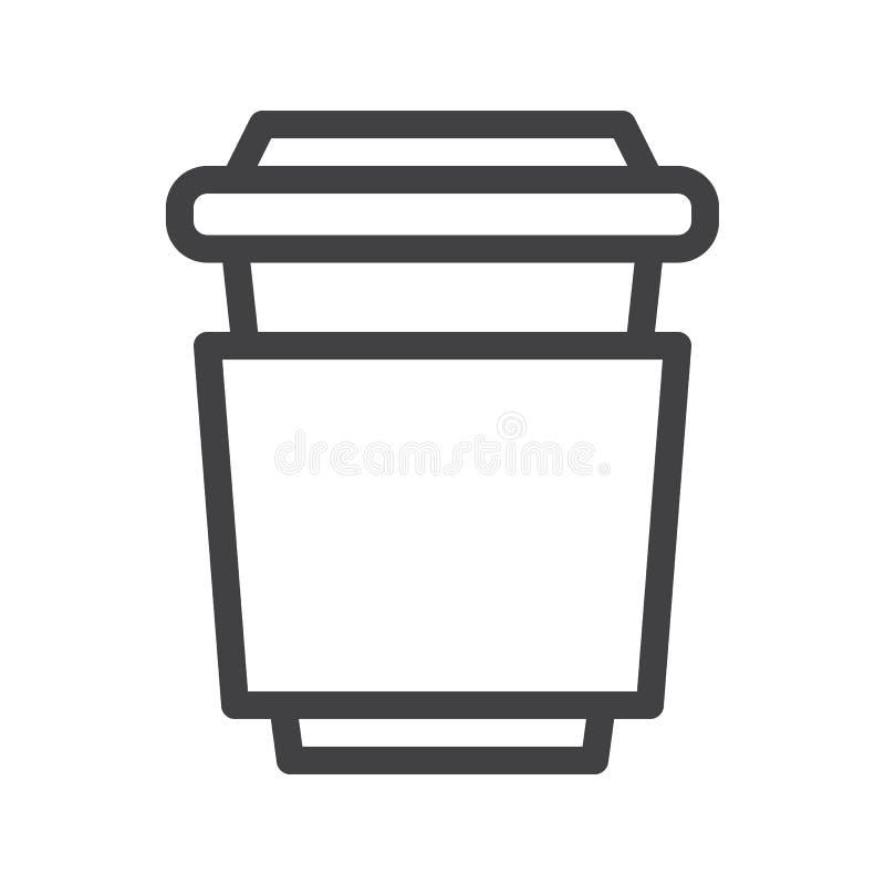 Linha ícone do copo de café ilustração stock