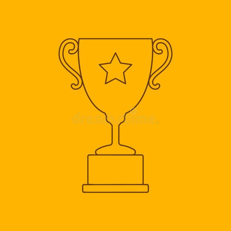 Linha ícone do copo do troféu ilustração do vetor