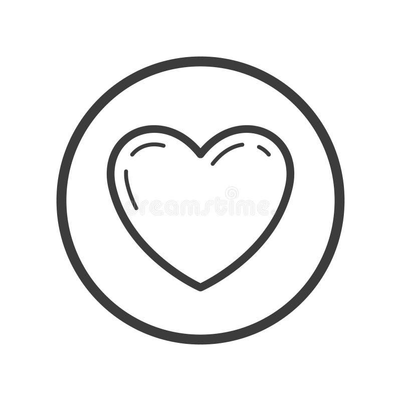 Linha ícone do coração da arte no quadro redondo ilustração stock