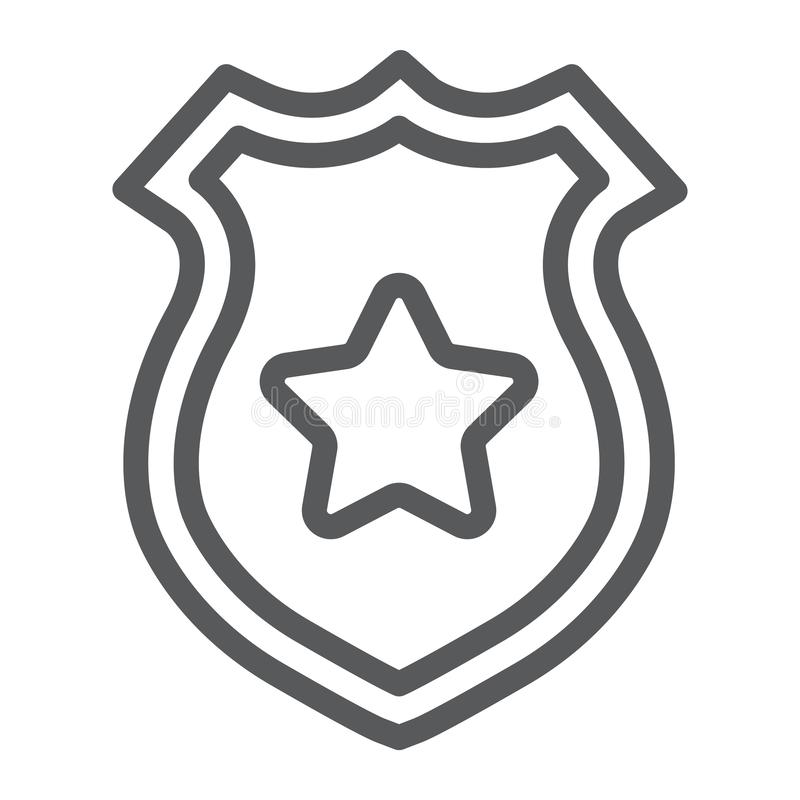 Linha ícone do crachá da polícia, polícia e xerife, sinal do crachá do oficial, gráficos de vetor, um teste padrão linear em um f ilustração do vetor