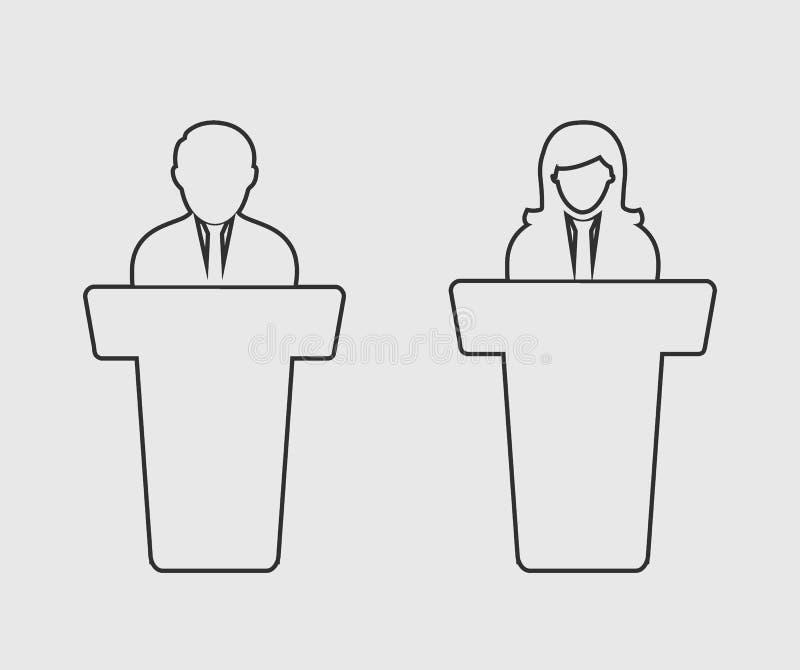Linha ícone do debate ilustração do vetor