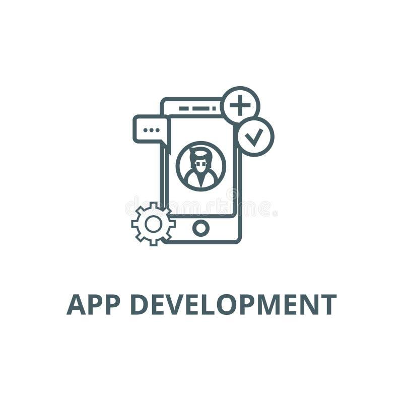 Linha ícone do desenvolvimento do App, vetor Sinal do esboço do desenvolvimento do App, símbolo do conceito, ilustração lisa ilustração stock