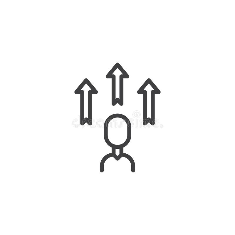 Linha ícone do desenvolvimento do empregado ilustração stock
