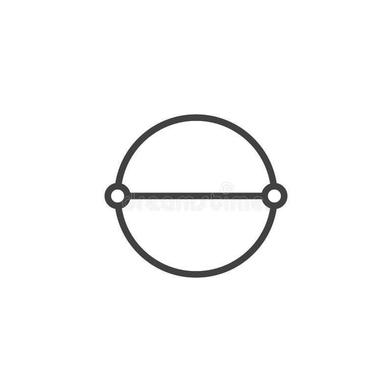 Linha ícone do diâmetro do círculo ilustração stock