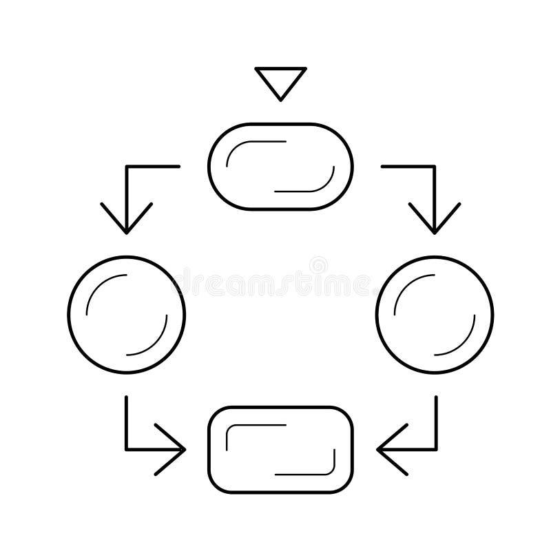 Linha ícone do diagrama de fluxo ilustração stock