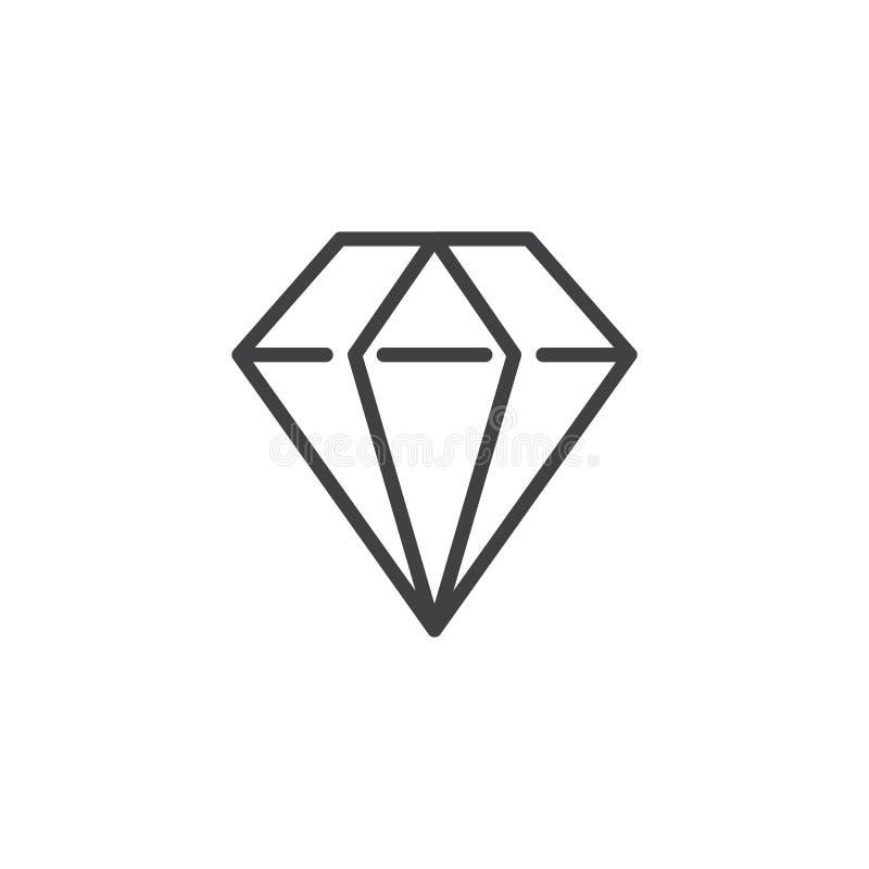Linha ícone do diamante ilustração do vetor