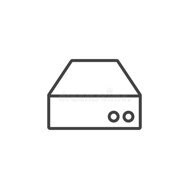 Linha ícone do disco, ilustração do logotipo do esboço do disco rígido, lin ilustração royalty free