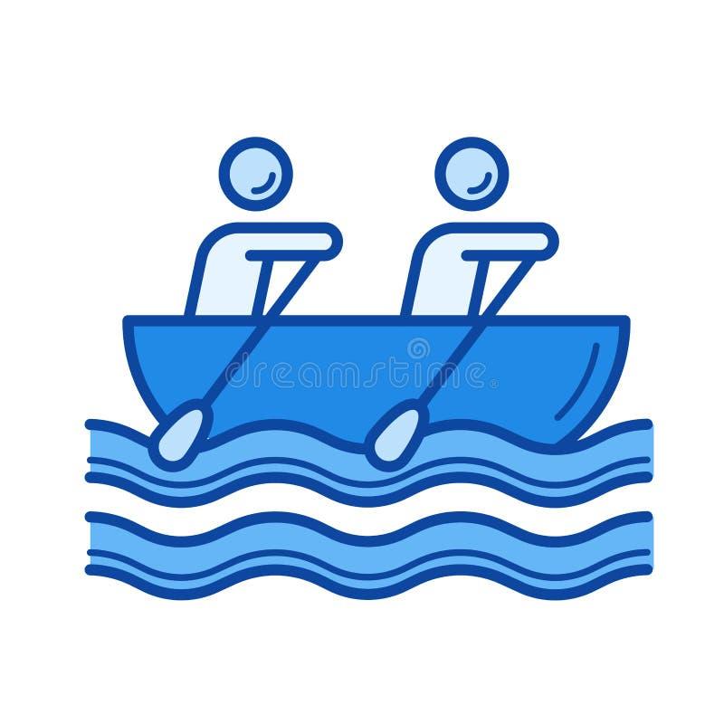 Linha ícone do enfileiramento da canoa ilustração do vetor