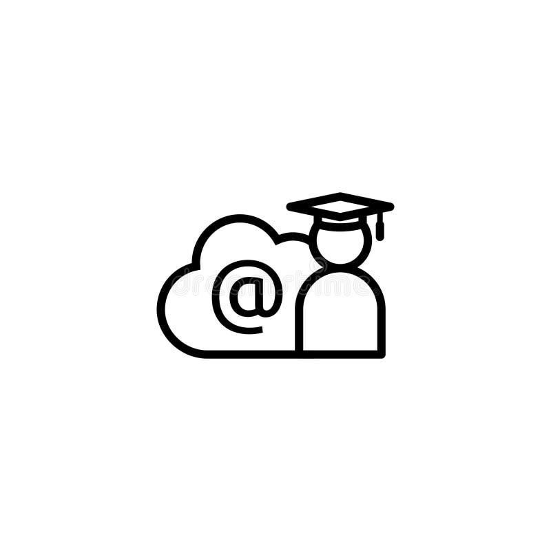 Linha ícone do ensino eletrónico Símbolo em linha da educação do Internet tampão da graduação com conceito da nuvem sinal graduad ilustração do vetor