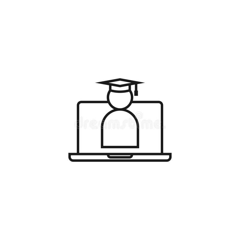 Linha ícone do ensino eletrónico Símbolo em linha da educação do Internet tampão da graduação na tela do portátil sinal graduado  ilustração stock