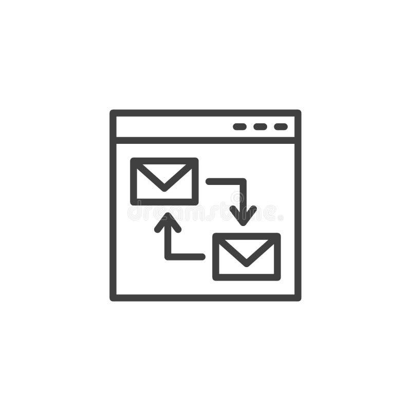 Linha ícone do enviamento do Web site ilustração stock