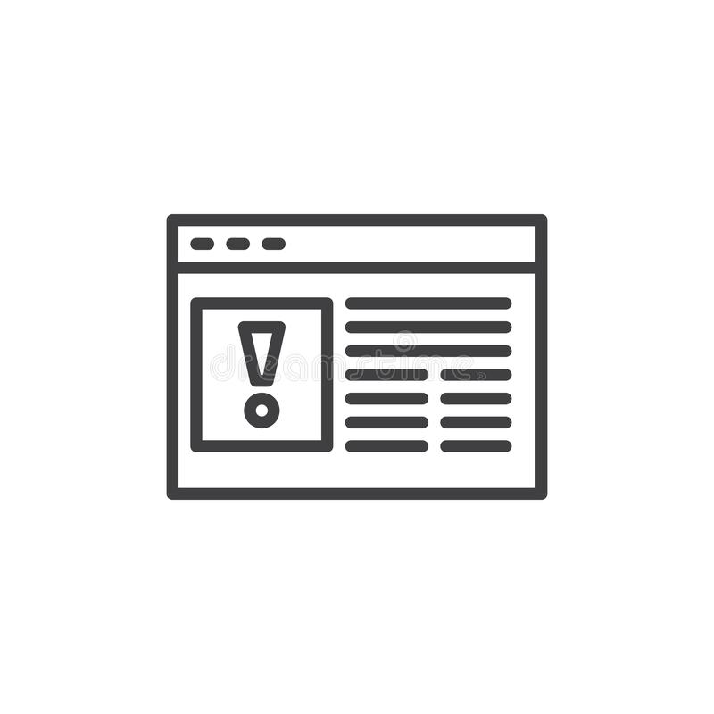 Linha ícone do erro do página da web ilustração do vetor