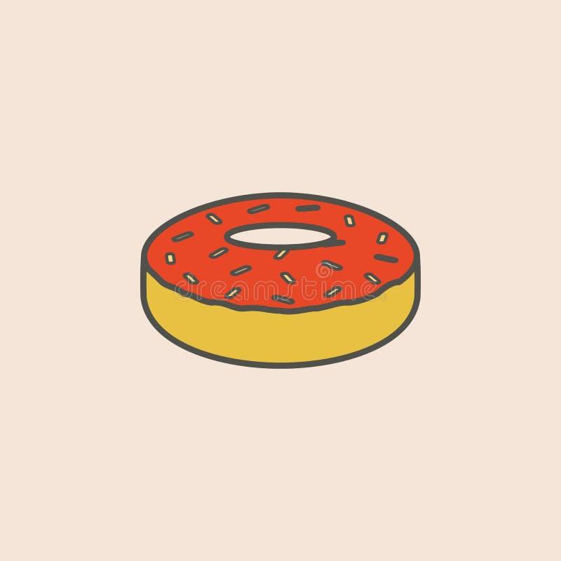 linha ícone do esmalte da filhós Elemento do ícone do fast food para apps móveis do conceito e da Web A linha ícone do esmalte da ilustração do vetor