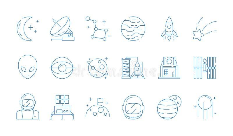 Linha ícone do espaço Do vetor estrangeiro das estrelas do astronauta do foguete da estação da astronomia da lua símbolos finos ilustração stock