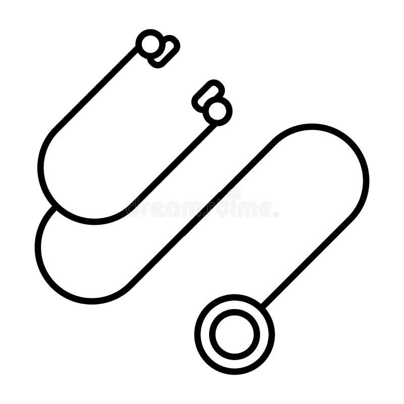 Linha ícone do estetoscópio Ilustração do vetor isolada no branco projeto do estilo do esboço, projetado para a Web e o app Eps 1 ilustração do vetor