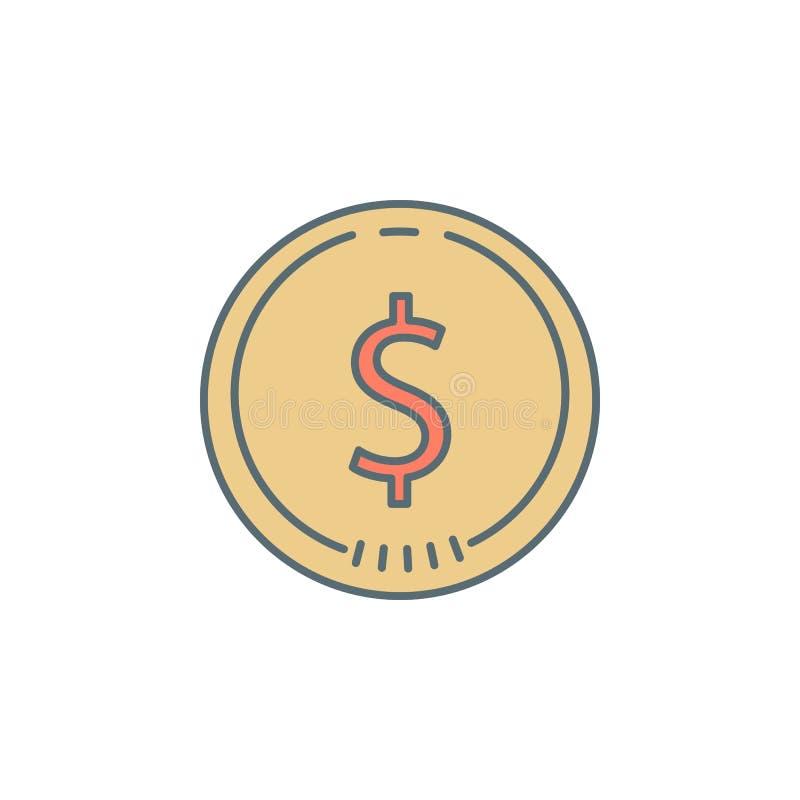 linha ícone do estilo do crepúsculo do centavo da moeda Elemento do ícone da operação bancária para apps móveis do conceito e da  ilustração stock