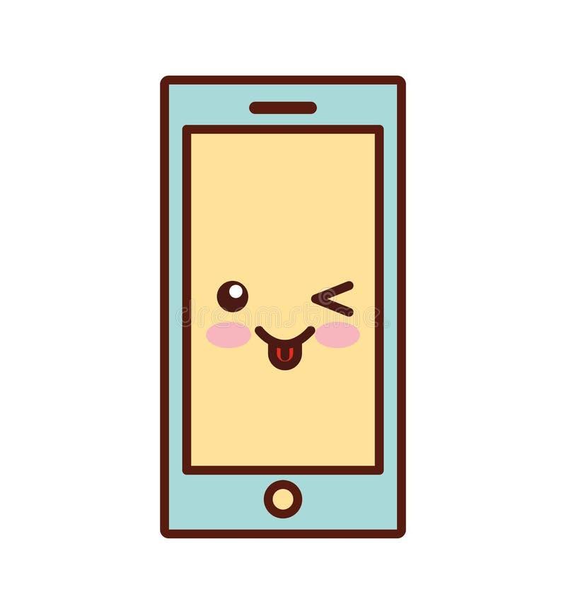 Linha ícone do estilo do kawaii da tecnologia de Smartphone ilustração royalty free