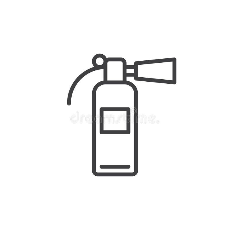 Linha ícone do extintor, sinal do vetor do esboço, pictograma linear do estilo isolado no branco ilustração stock