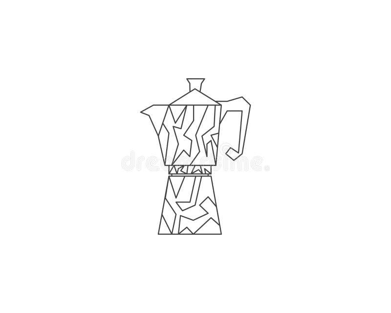 Linha ícone do fabricante de café do geyser, logotipo do potenciômetro do café, logotipo do vetor do fabricante de café, logotipo ilustração stock