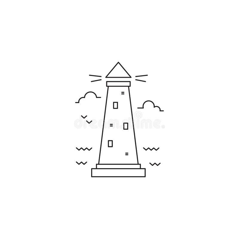 Linha ícone do farol ilustração do vetor